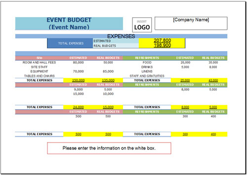 Free Event Budget Template For Excel 2007 - 2016