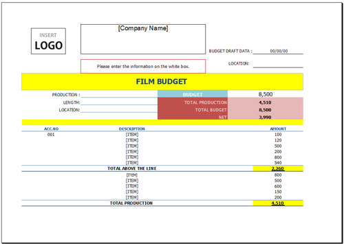 Free Film Budget Template for Excel 2007 – 2016