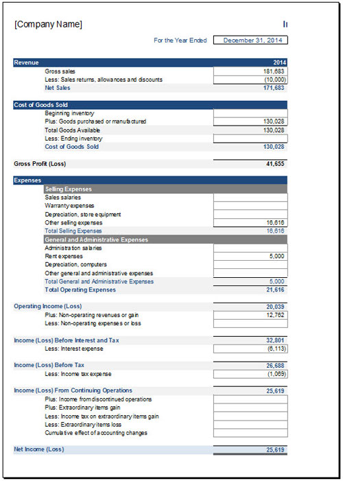 Free Income Statement Template for Excel 2007 2016 – Income Template
