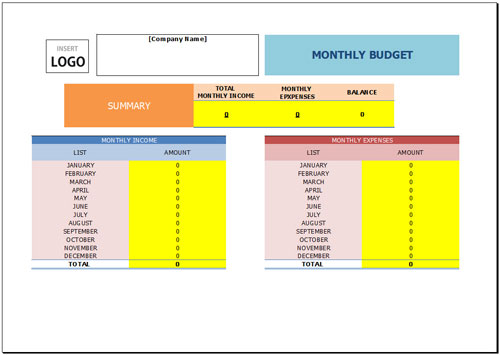 Free Monthly Budget Template for Excel 2007 – 2016