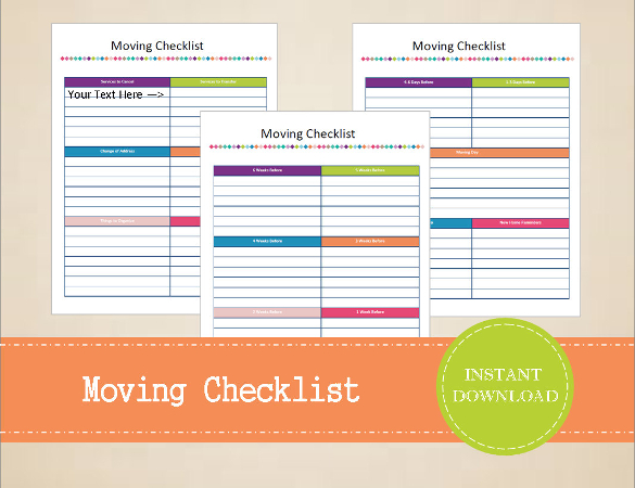 Free Moving Checklist Template for Excel 2007 - 2016
