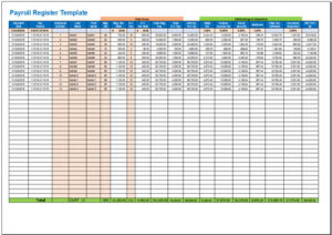 Payroll Register Template  Free Payroll Templates