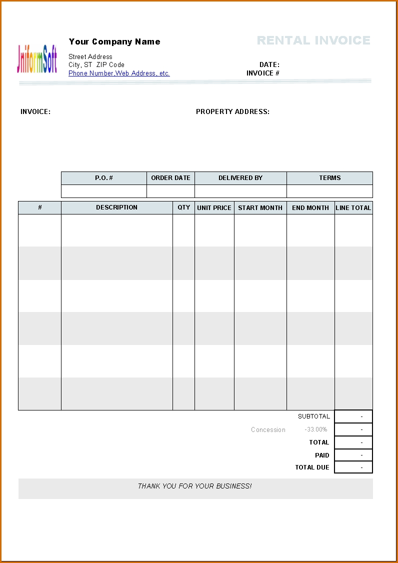 Free Rent Invoice Template For Excel 2007   2016