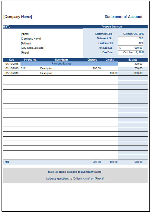 Free Statement Of Account Template for Excel 2007 – 2016