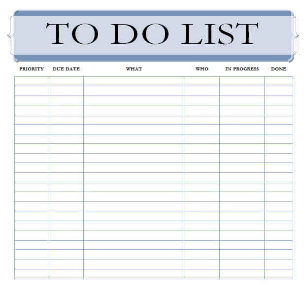 Free To Do List Template For Excel 2007 - 2016