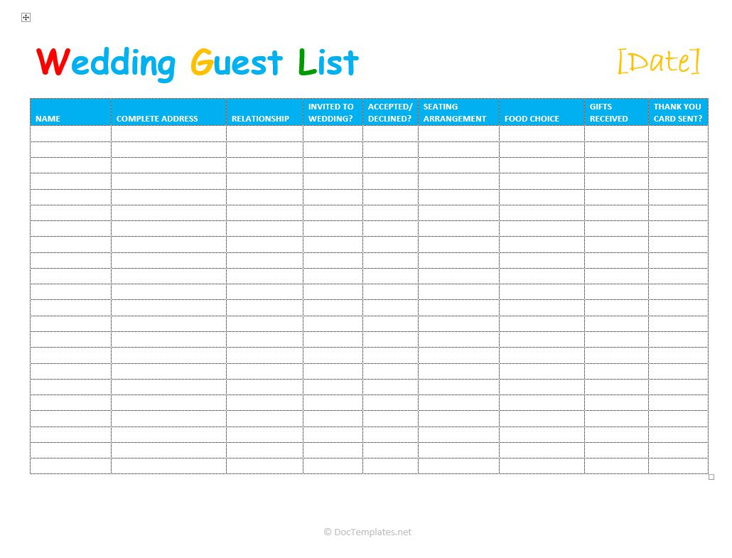 Free Wedding Guest List Template For Excel