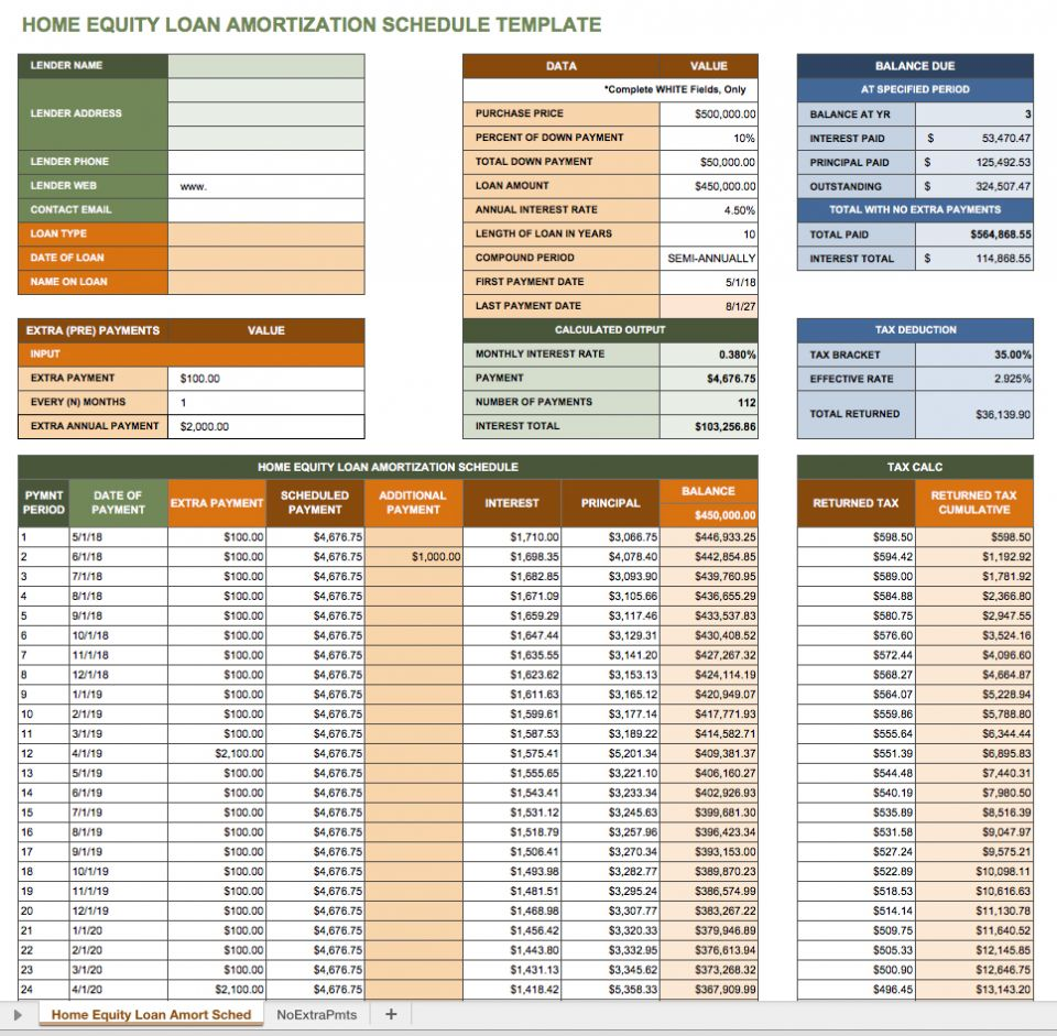 Excel Amortization Schedule