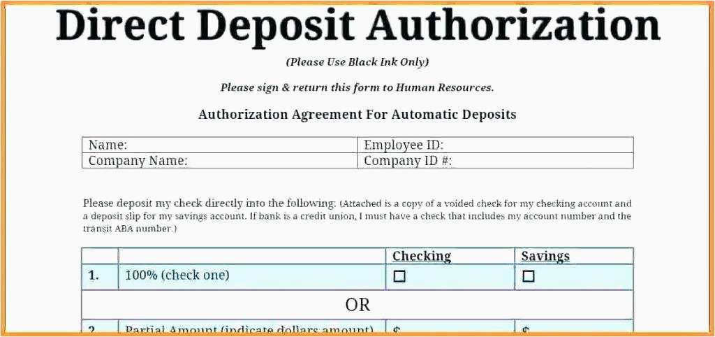 Free Direct Deposit Form Template For Excel