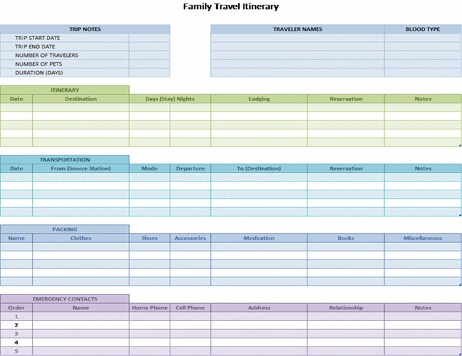Free Travel Itinerary Template For Excel 2007 - 2016