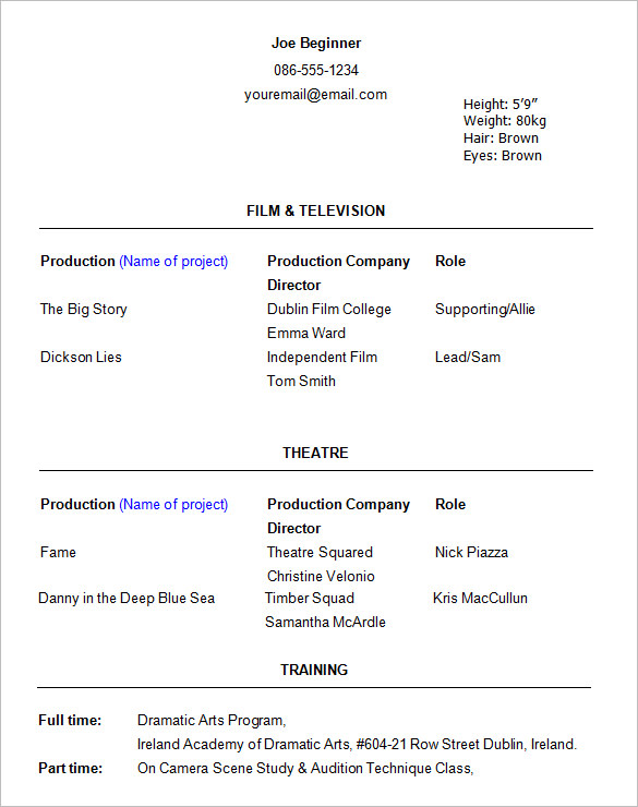free audition resume template medical assistant acting for word theatre theater
