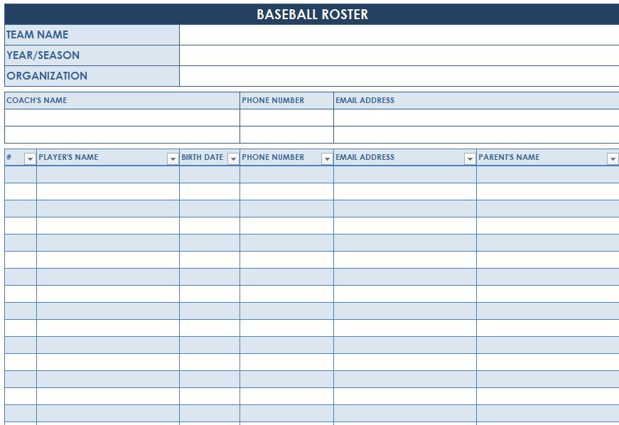 Free Baseball Roster Template For Excel 2007 - 2016