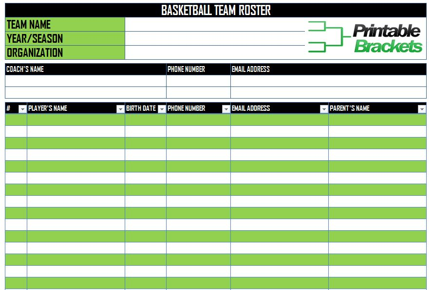 Free Basketball Roster Template For Excel 2007 - 2016