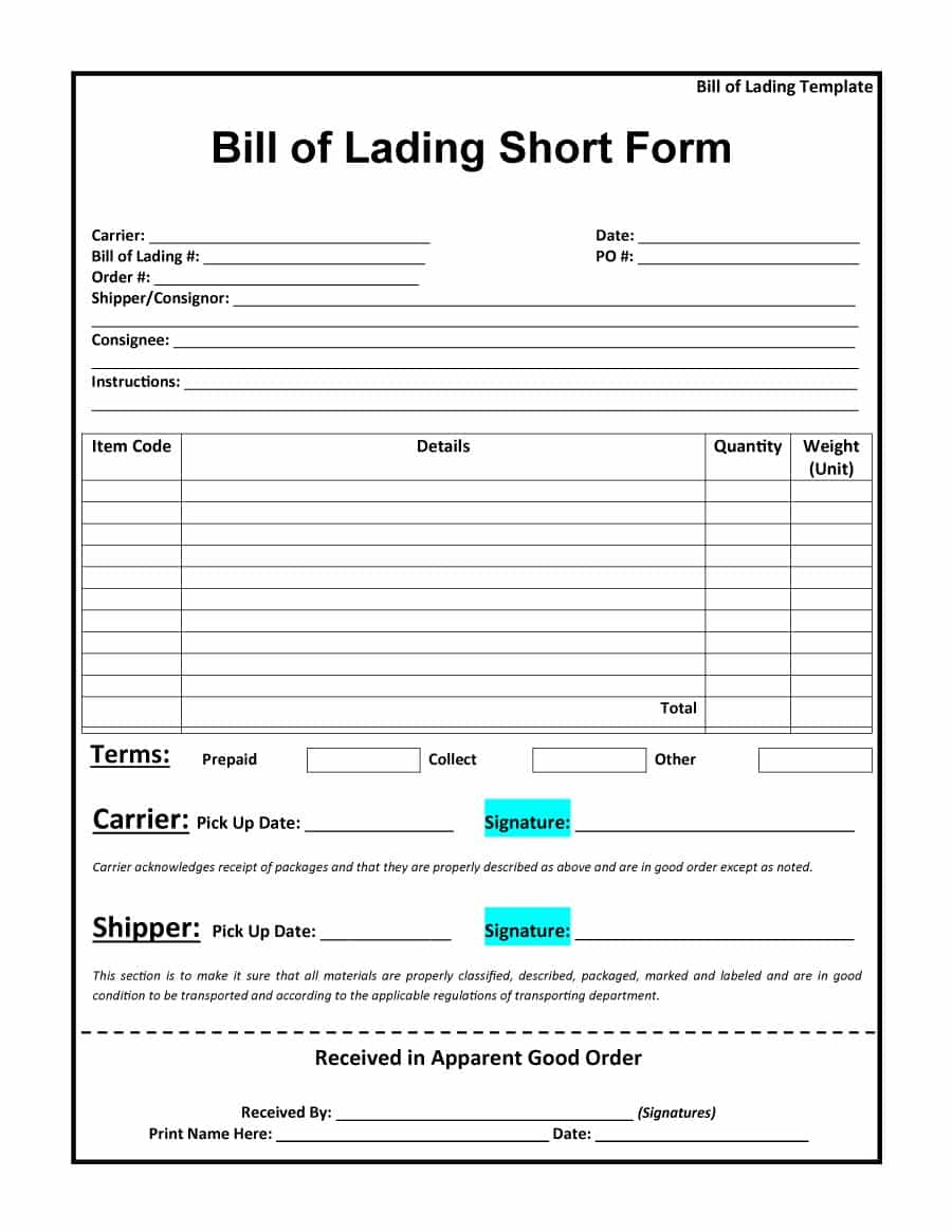 Free Bill of Lading Form Template
