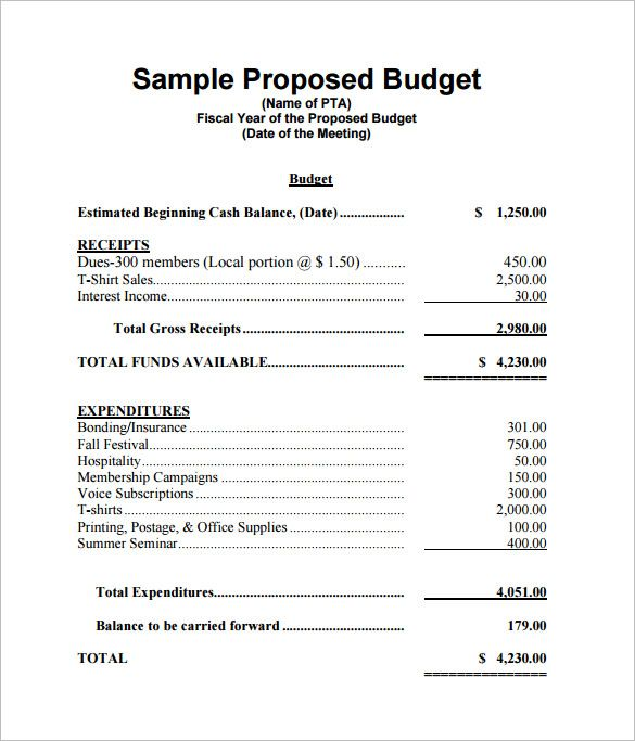 Free Budget Proposal Template for Excel 2007 – 2016