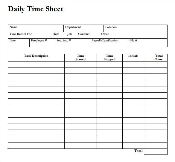 Download Free Daily Timesheet Template