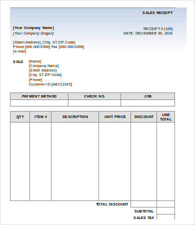 Free Sales Receipt Template for Excel 2007 – 2016