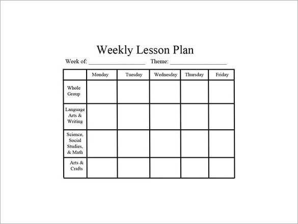 Download Free Weekly Lesson Plan Template