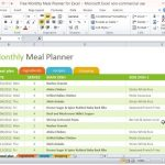 Free Monthly Meal Planner Template for Excel 2007 – 2016
