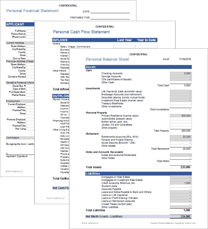 Free Personal Financial Statement Template for Excel 2007 – 2016