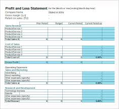 free profit and loss statement template for excel 2007 2016
