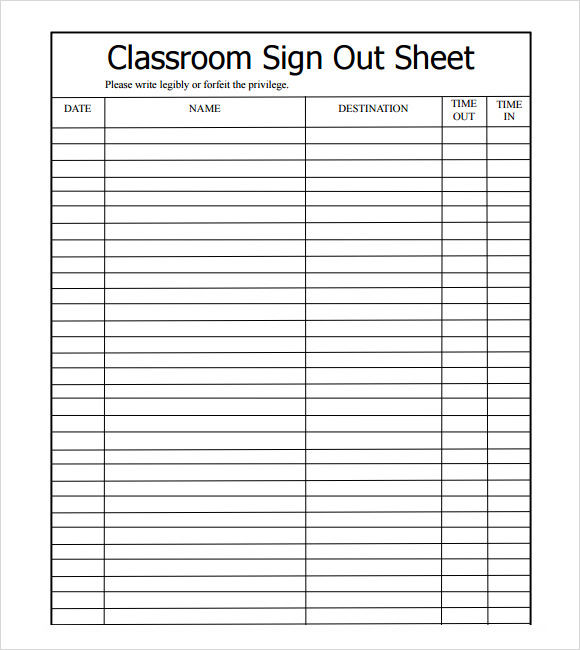Free Sign Out Sheet Template for Excel