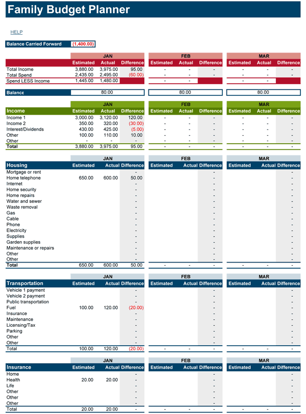 Free Weekly Budget Template for Excel 2007 – 2016