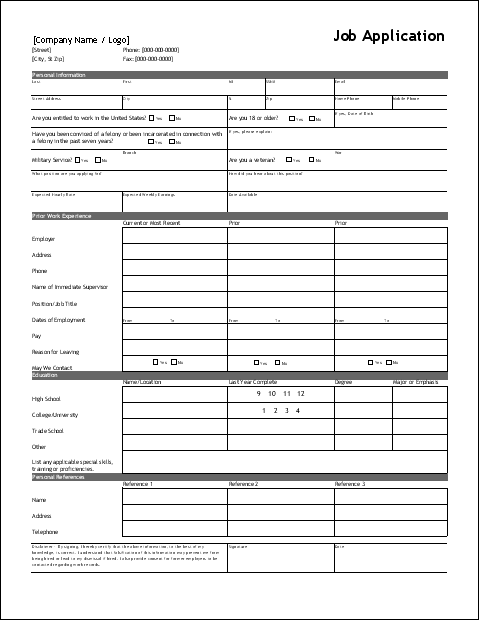 Free Application for Employment Form