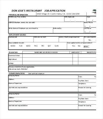 Free General Employment Application Template